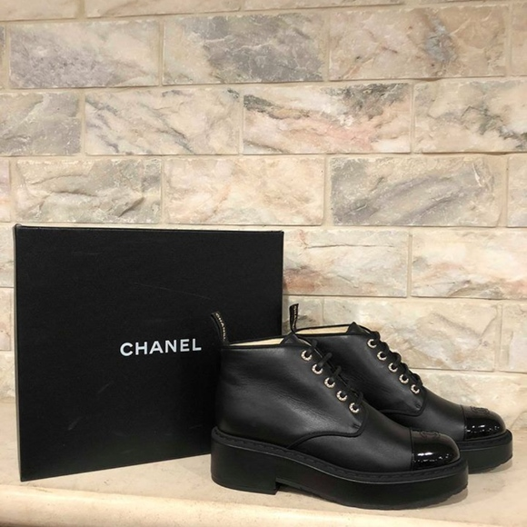 abbbeea42852f CHANEL Shoes | 17b Black Leather Patent Cc Pearl Lace Up | Poshmark